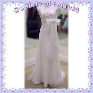 Dresses & Skirts - Sz❤️10🆕⭐️Elegant Lace Bodice Bow Wedding Gown⭐️